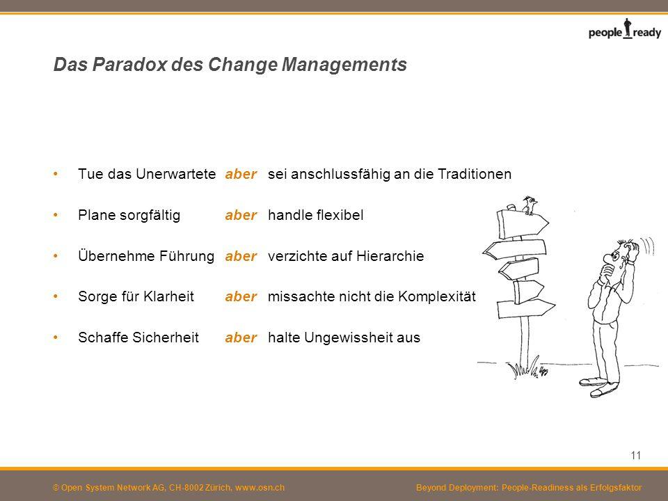 © Open System Network AG, CH-8002 Zürich, www.osn.ch Das Paradox des Change Managements Tue das Unerwartete Plane sorgfältig Übernehme Führung Sorge f