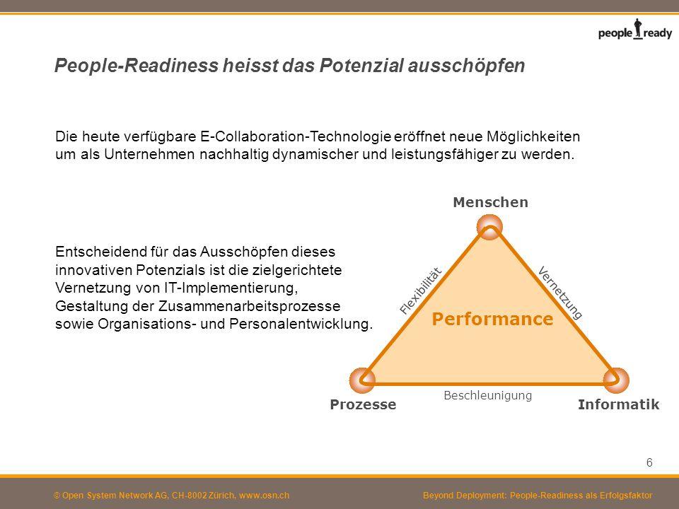© Open System Network AG, CH-8002 Zürich, www.osn.ch Miteinander Spitzenleistungen erzielen – People-Ready werden Um people-ready zu werden, müssen IT-Implementierung (technischer Aspekt) und Change Management (Entwicklung neuer Formen der Zusammenarbeit, individuelle und kollektive Befähigung) miteinander verknüpft werden.