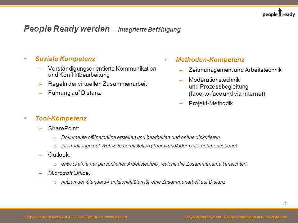 © Open System Network AG, CH-8002 Zürich, www.osn.ch People Ready werden – integrierte Befähigung Soziale Kompetenz –Verständigungsorientierte Kommuni