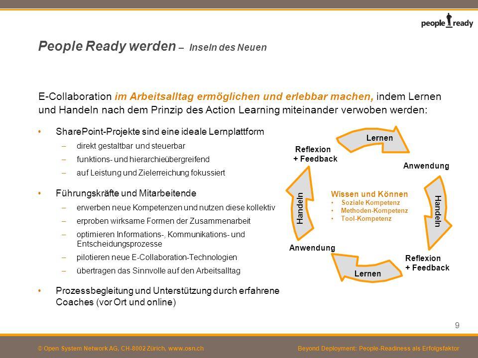 © Open System Network AG, CH-8002 Zürich, www.osn.ch People Ready werden – Anpassung der Gesamtorganisation SharePoint verändert die Erwartungen im Unternehmen: –umfassende, leicht zugängliche Informationen –unkomplizierte und unbürokratische Kontakte statt Dienstweg –schnelle Entscheide –grössere Autonomie Das ist eine Chance und eine Gefahr zugleich für das Unternehmen: –Veränderungsimpuls von unten –Entwicklung neuer Führungs- und Entscheidungsprozesse o Hierarchie vs.
