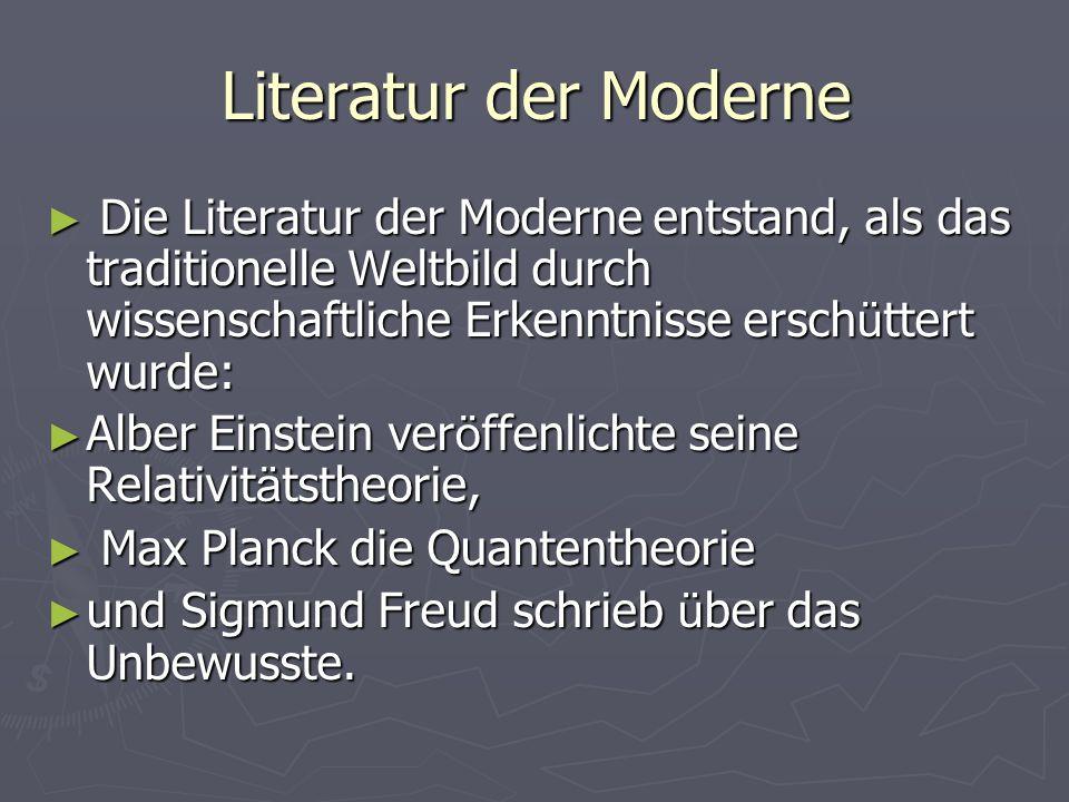Literatur der Moderne Die Literatur der Moderne entstand, als das traditionelle Weltbild durch wissenschaftliche Erkenntnisse ersch ü ttert wurde: Die