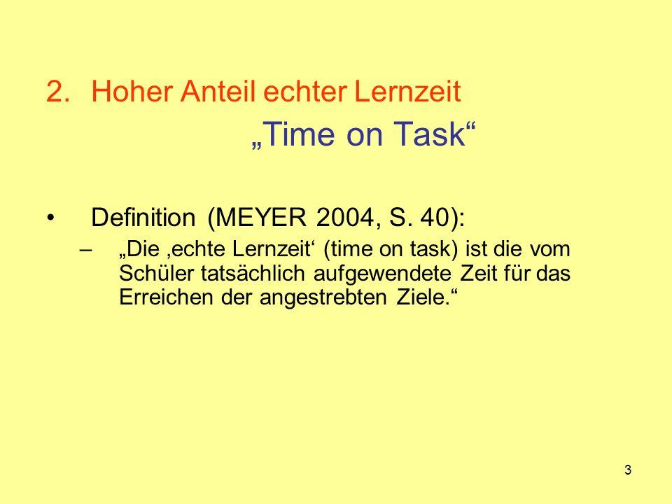 3 2.Hoher Anteil echter Lernzeit Time on Task Definition (MEYER 2004, S. 40): –Die echte Lernzeit (time on task) ist die vom Schüler tatsächlich aufge