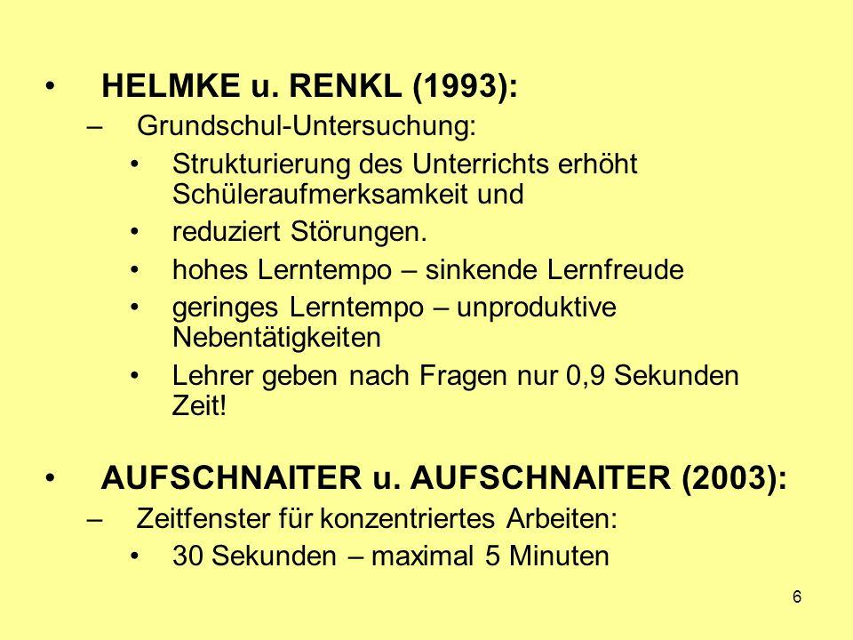 6 HELMKE u. RENKL (1993): –Grundschul-Untersuchung: Strukturierung des Unterrichts erhöht Schüleraufmerksamkeit und reduziert Störungen. hohes Lerntem