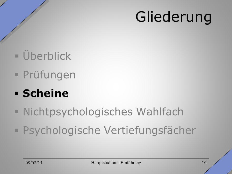 09/02/14Hauptstudiums-Einführung10 Gliederung Überblick Prüfungen Scheine Nichtpsychologisches Wahlfach Psychologische Vertiefungsfächer