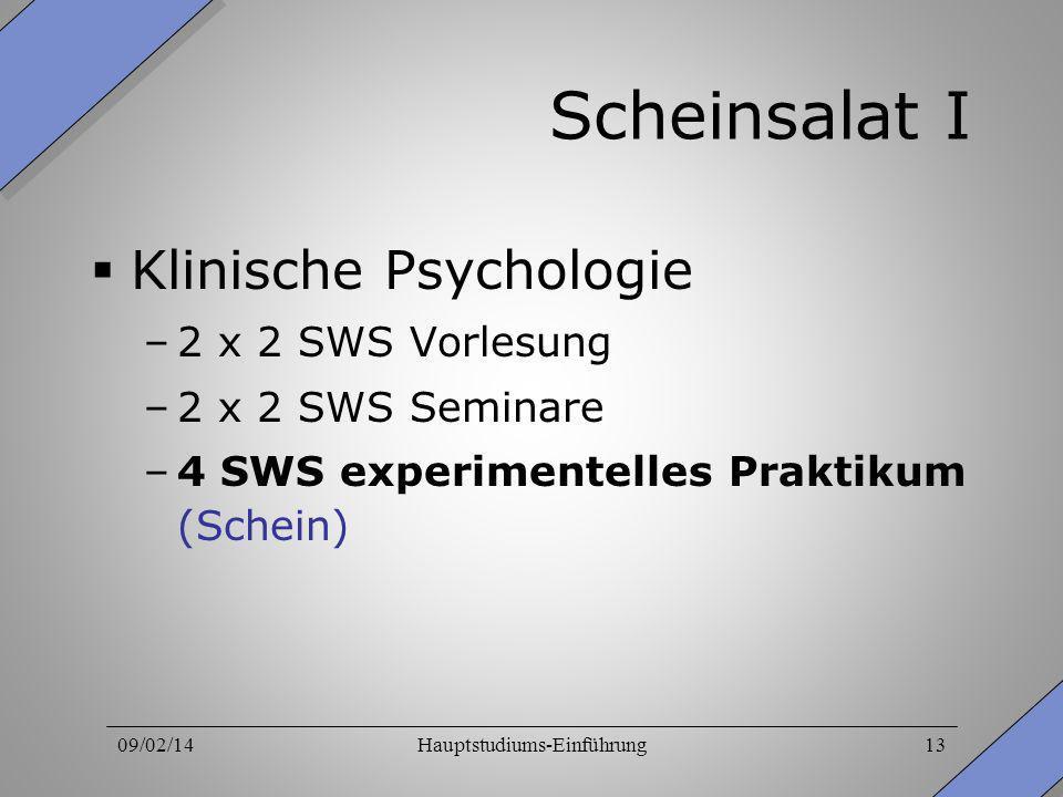 09/02/14Hauptstudiums-Einführung13 Scheinsalat I Klinische Psychologie –2 x 2 SWS Vorlesung –2 x 2 SWS Seminare –4 SWS experimentelles Praktikum (Sche