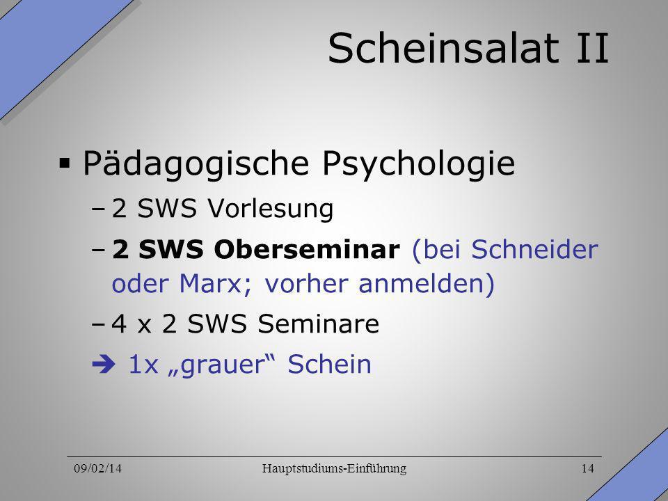09/02/14Hauptstudiums-Einführung14 Scheinsalat II Pädagogische Psychologie –2 SWS Vorlesung –2 SWS Oberseminar (bei Schneider oder Marx; vorher anmeld
