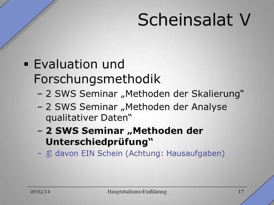 09/02/14Hauptstudiums-Einführung17 Scheinsalat V Evaluation und Forschungsmethodik –2 SWS Seminar Methoden der Skalierung –2 SWS Seminar Methoden der