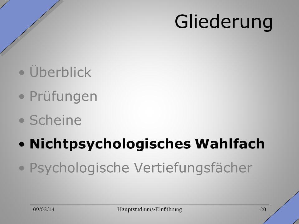 09/02/14Hauptstudiums-Einführung20 Gliederung Überblick Prüfungen Scheine Nichtpsychologisches Wahlfach Psychologische Vertiefungsfächer