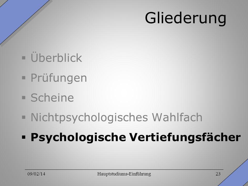 09/02/14Hauptstudiums-Einführung23 Gliederung Überblick Prüfungen Scheine Nichtpsychologisches Wahlfach Psychologische Vertiefungsfächer