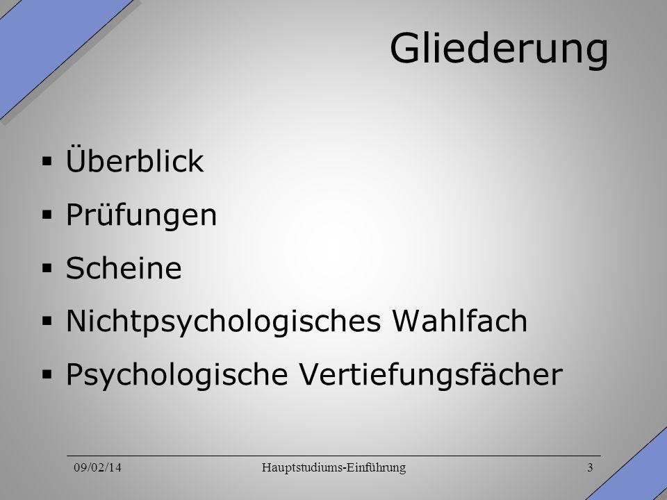 09/02/14Hauptstudiums-Einführung3 Gliederung Überblick Prüfungen Scheine Nichtpsychologisches Wahlfach Psychologische Vertiefungsfächer