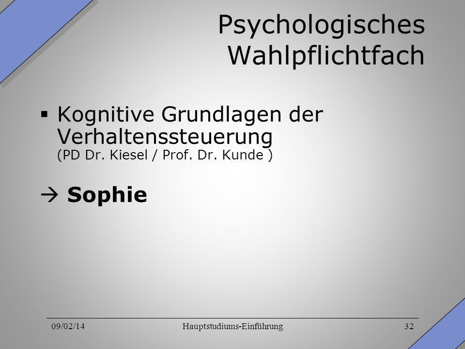 09/02/14Hauptstudiums-Einführung32 Psychologisches Wahlpflichtfach Kognitive Grundlagen der Verhaltenssteuerung (PD Dr. Kiesel / Prof. Dr. Kunde ) Sop