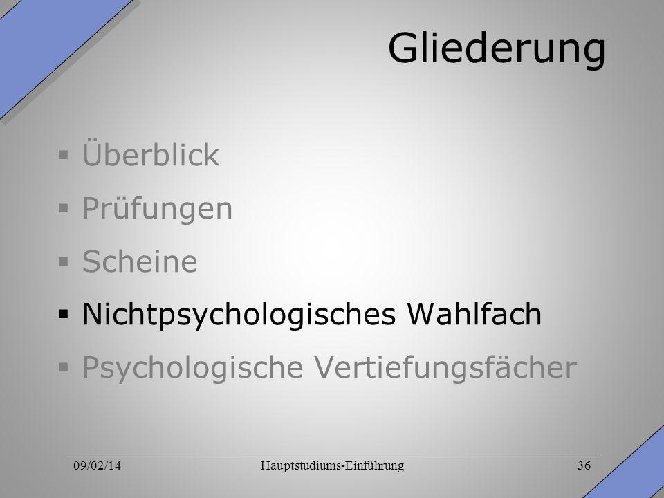 09/02/14Hauptstudiums-Einführung36 Gliederung Überblick Prüfungen Scheine Nichtpsychologisches Wahlfach Psychologische Vertiefungsfächer