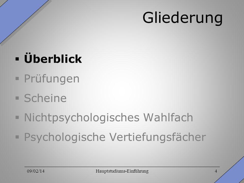 09/02/14Hauptstudiums-Einführung4 Gliederung Überblick Prüfungen Scheine Nichtpsychologisches Wahlfach Psychologische Vertiefungsfächer
