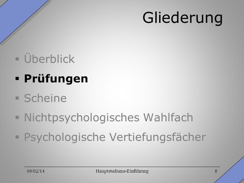 09/02/14Hauptstudiums-Einführung8 Gliederung Überblick Prüfungen Scheine Nichtpsychologisches Wahlfach Psychologische Vertiefungsfächer