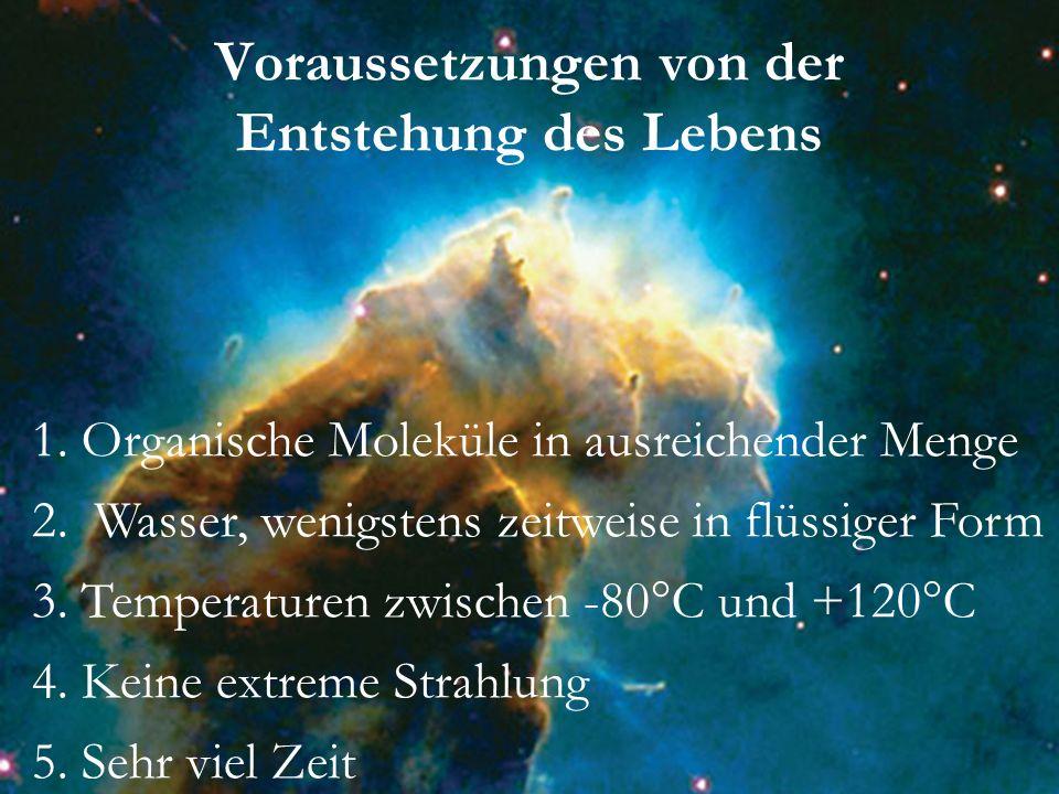 Voraussetzungen von der Entstehung des Lebens 4. Keine extreme Strahlung 1. Organische Moleküle in ausreichender Menge 2. Wasser, wenigstens zeitweise