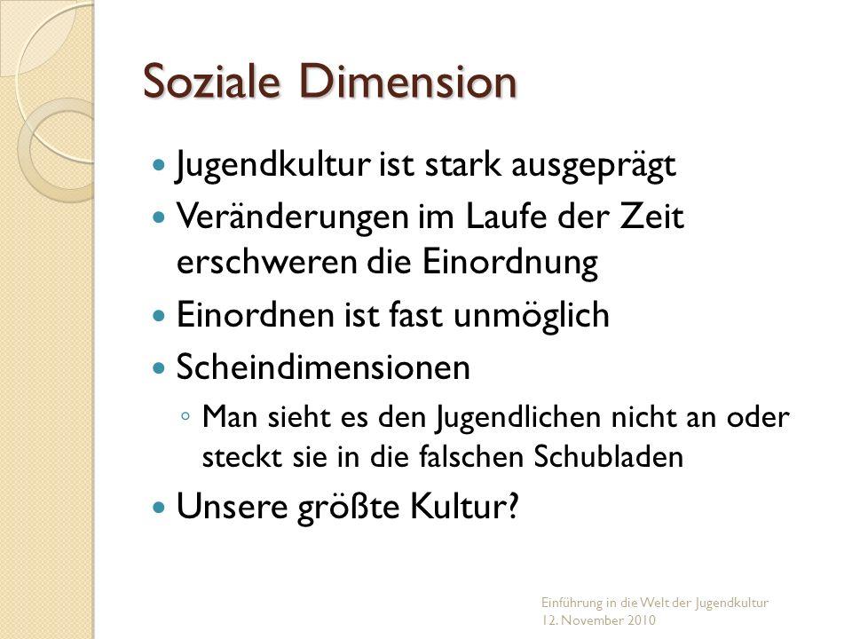 Soziale Dimension Jugendkultur ist stark ausgeprägt Veränderungen im Laufe der Zeit erschweren die Einordnung Einordnen ist fast unmöglich Scheindimen