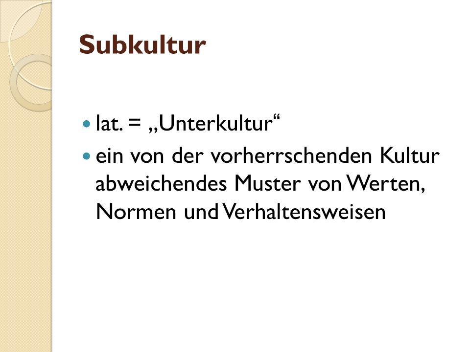 Subkultur lat. = Unterkultur ein von der vorherrschenden Kultur abweichendes Muster von Werten, Normen und Verhaltensweisen