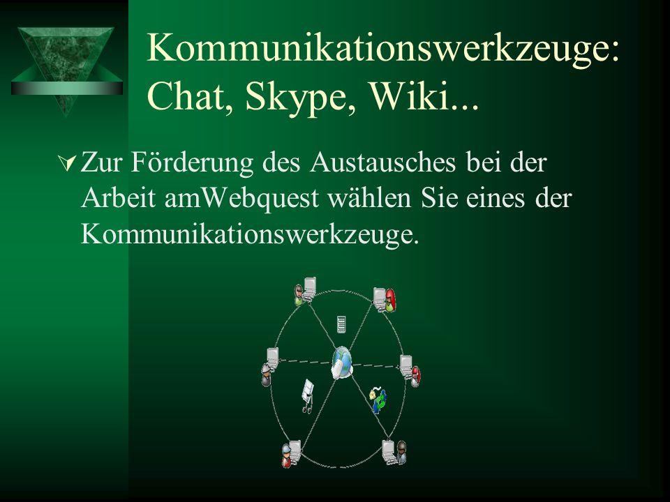 Kommunikationswerkzeuge: Chat, Skype, Wiki...