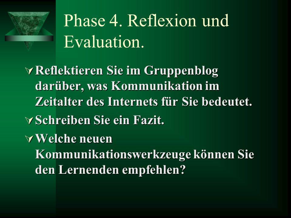 Phase 4.Reflexion und Evaluation.