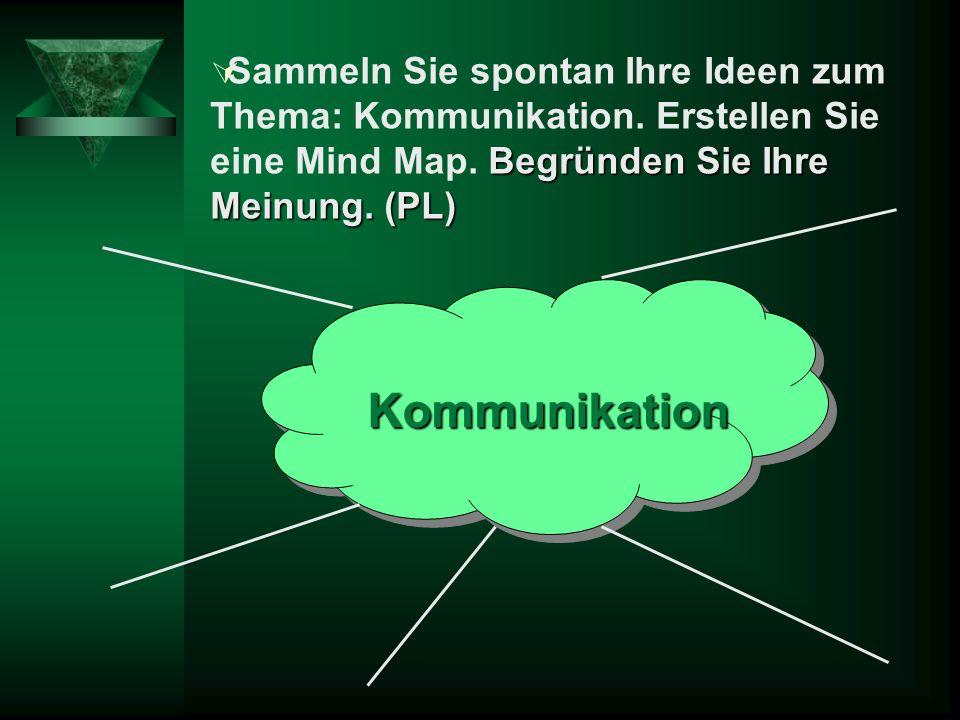 Begründen Sie Ihre Meinung.(PL) Sammeln Sie spontan Ihre Ideen zum Thema: Kommunikation.
