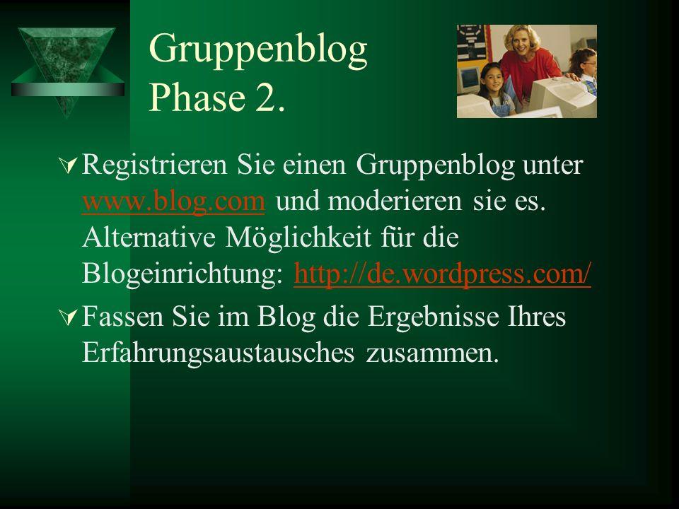 Gruppenblog Phase 2.Registrieren Sie einen Gruppenblog unter www.blog.com und moderieren sie es.