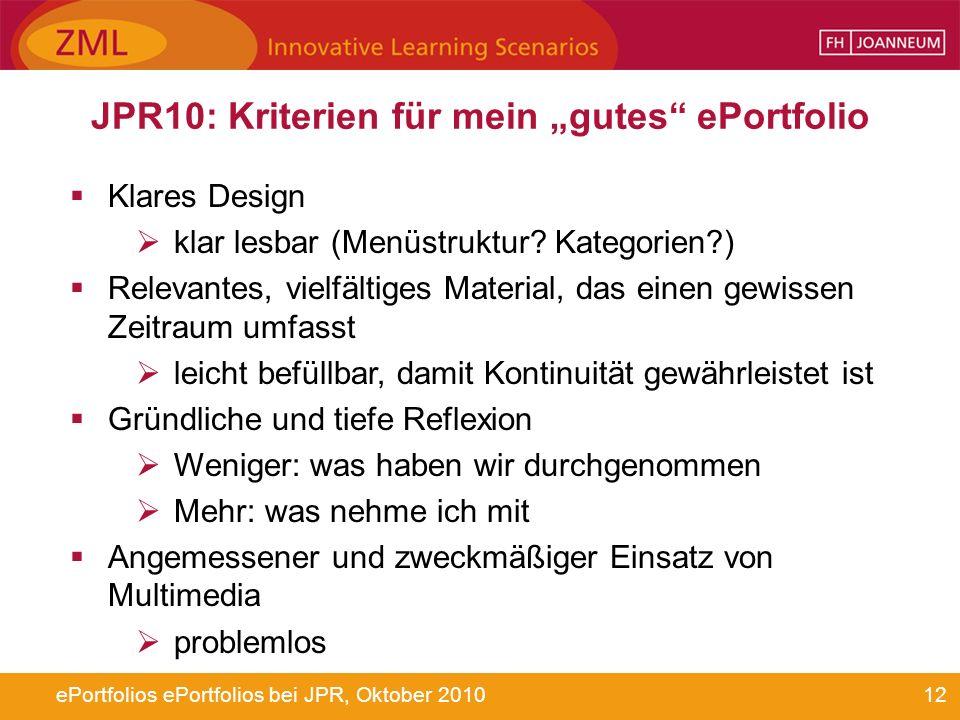 12ePortfolios ePortfolios bei JPR, Oktober 2010 JPR10: Kriterien für mein gutes ePortfolio Klares Design klar lesbar (Menüstruktur? Kategorien?) Relev
