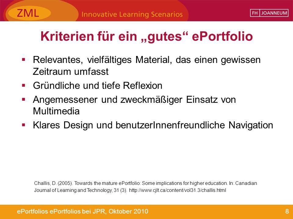 8ePortfolios ePortfolios bei JPR, Oktober 2010 Kriterien für ein gutes ePortfolio Relevantes, vielfältiges Material, das einen gewissen Zeitraum umfas