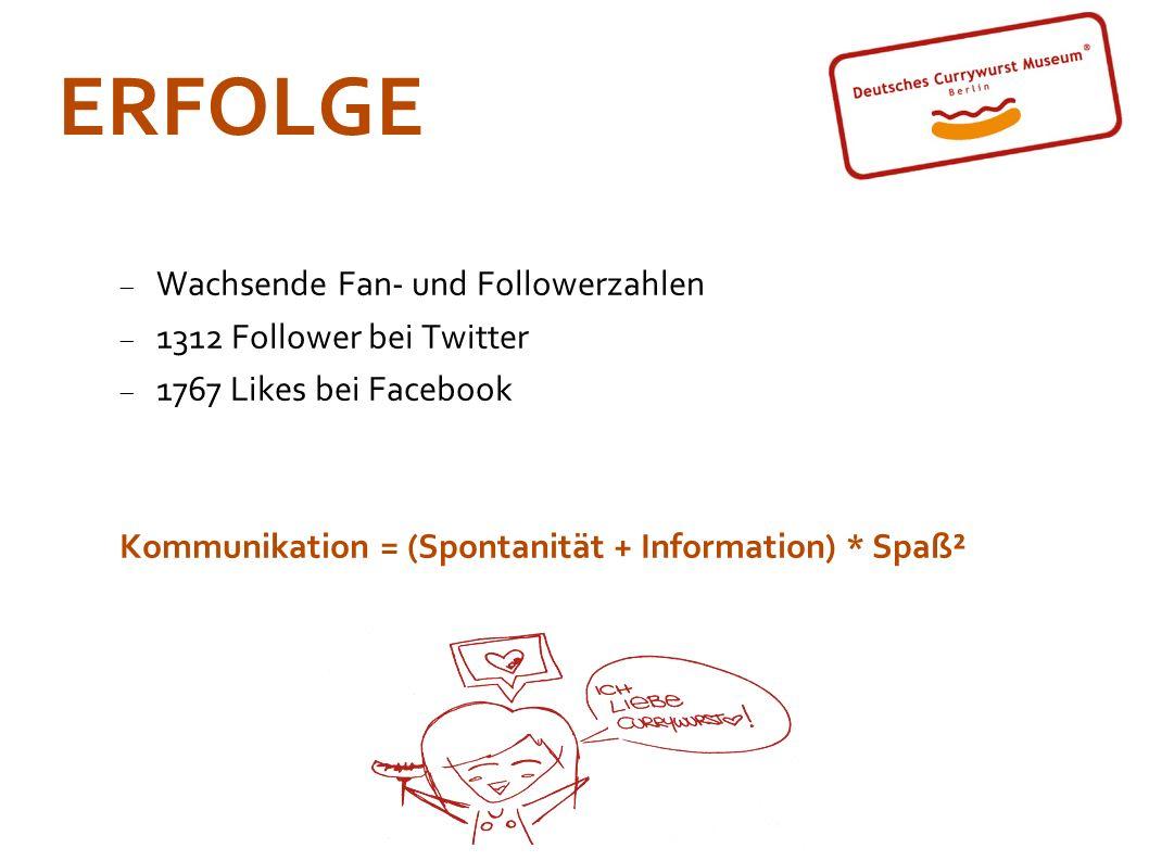 ERFOLGE Wachsende Fan- und Followerzahlen 1312 Follower bei Twitter 1767 Likes bei Facebook Kommunikation = (Spontanität + Information) * Spaß²