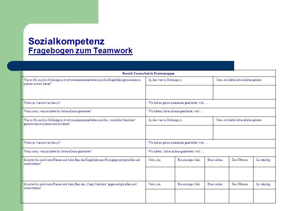 Sozialkompetenz Fragebogen zum Teamwork Bereich Teamarbeit in Zweiergruppen War es für euch in Ordnung zu zweit zusammenzuarbeiten und die Kugelbahn gemeinsam zu planen und zu bauen.