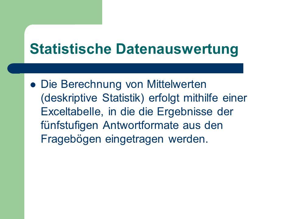 Statistische Datenauswertung Die Berechnung von Mittelwerten (deskriptive Statistik) erfolgt mithilfe einer Exceltabelle, in die die Ergebnisse der fünfstufigen Antwortformate aus den Fragebögen eingetragen werden.