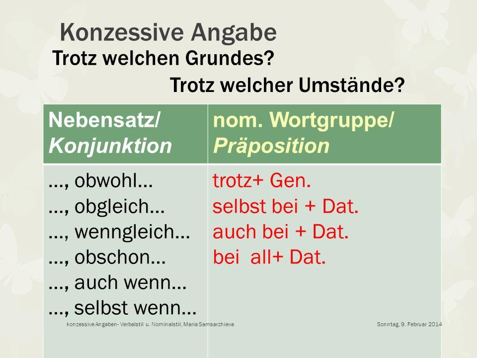 Konzessive Angabe Nebensatz/ Konjunktion nom. Wortgruppe/ Präposition …, obwohl… …, obgleich… …, wenngleich… …, obschon… …, auch wenn… …, selbst wenn…
