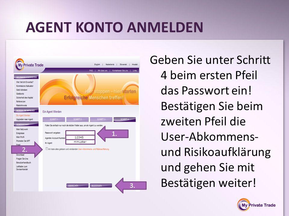Geben Sie unter Schritt 4 beim ersten Pfeil das Passwort ein! Bestätigen Sie beim zweiten Pfeil die User-Abkommens- und Risikoaufklärung und gehen Sie
