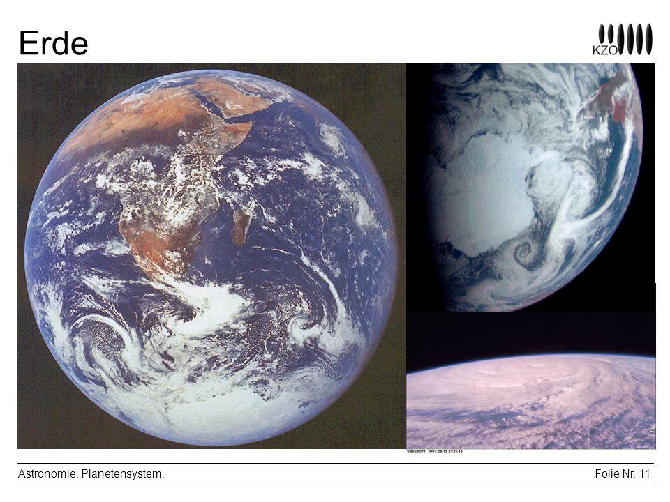 Folie Nr. 11 Astronomie. Planetensystem. Erde