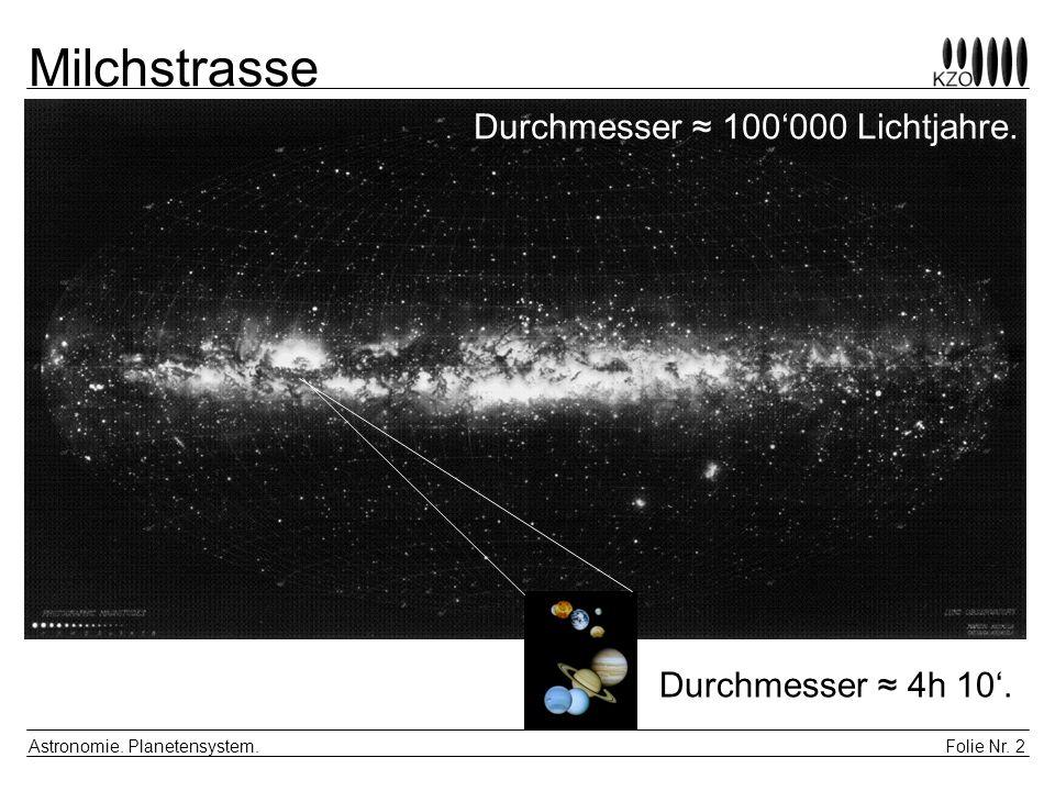 Folie Nr. 2 Astronomie. Planetensystem. Milchstrasse Durchmesser 100000 Lichtjahre. Durchmesser 4h 10.