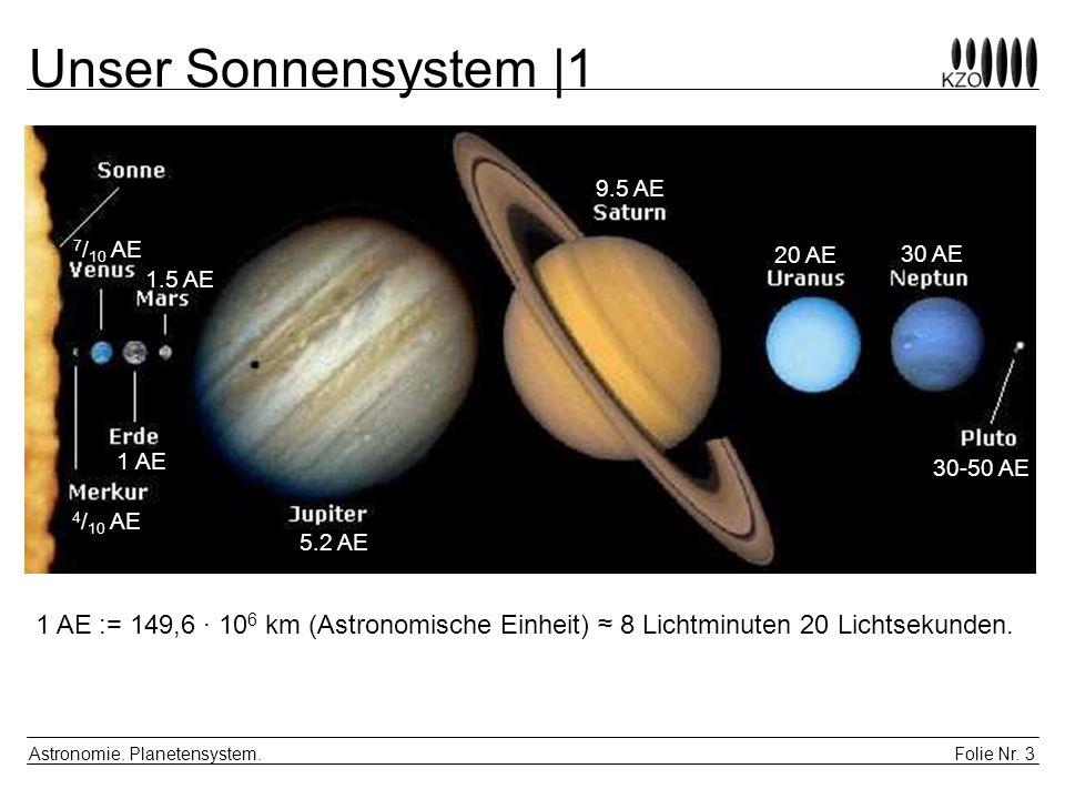 Folie Nr. 3 Astronomie. Planetensystem. Unser Sonnensystem |1 1 AE := 149,6 · 10 6 km (Astronomische Einheit) 8 Lichtminuten 20 Lichtsekunden. 1 AE 1.