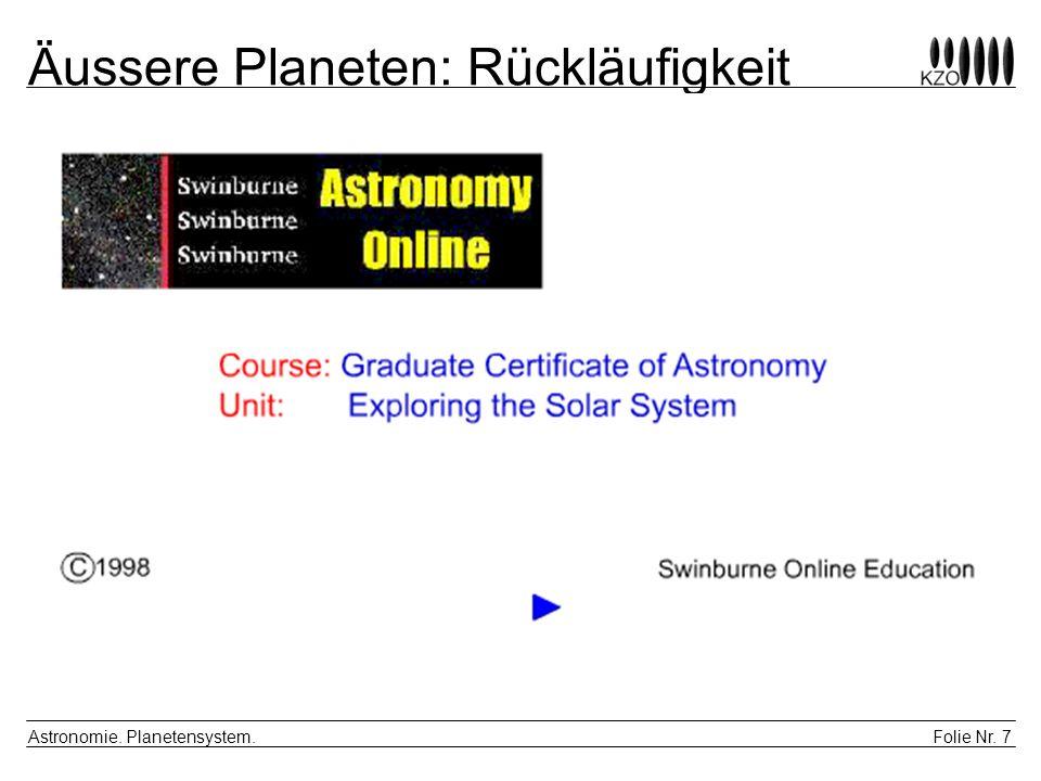 Folie Nr. 8 Astronomie. Planetensystem. Äussere Planeten: Rückläufigkeit |2