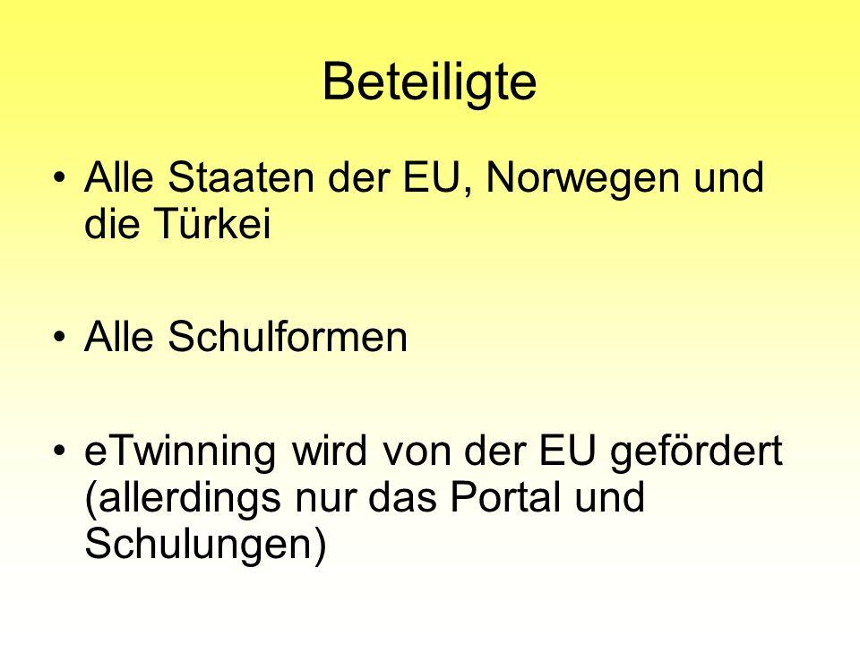 Alle Staaten der EU, Norwegen und die Türkei Alle Schulformen eTwinning wird von der EU gefördert (allerdings nur das Portal und Schulungen) Beteiligt