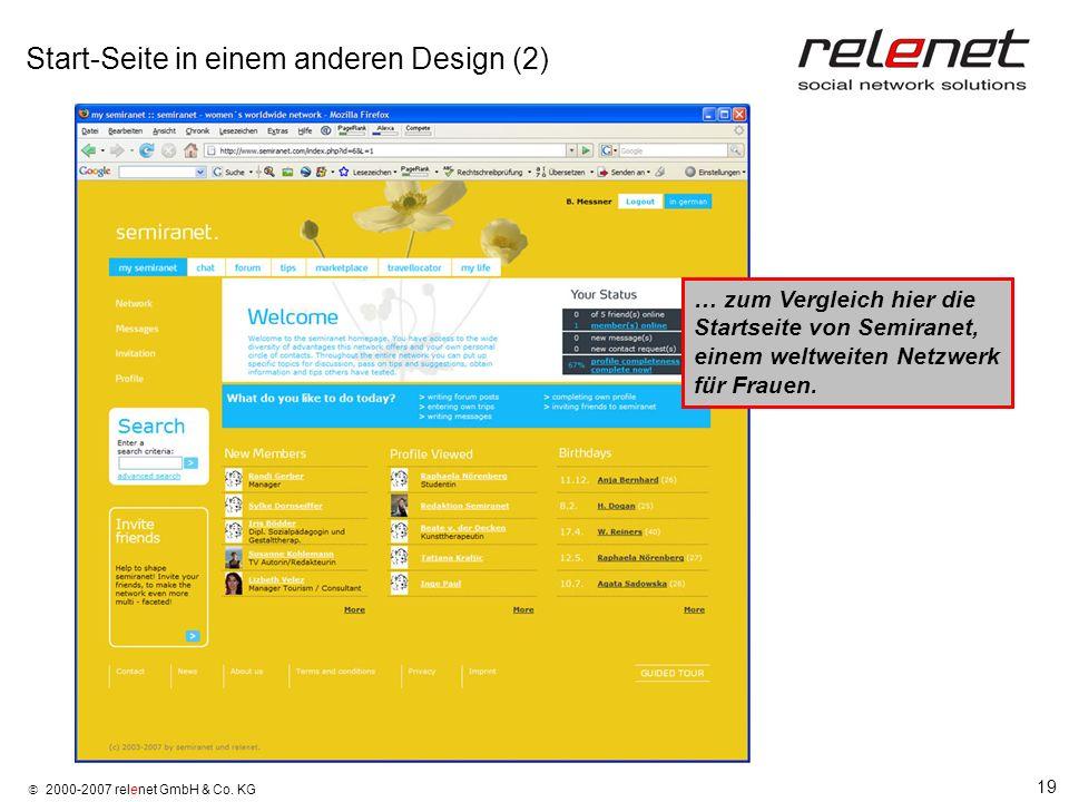 19 2000-2007 relenet GmbH & Co. KG Start-Seite in einem anderen Design (2) … zum Vergleich hier die Startseite von Semiranet, einem weltweiten Netzwer