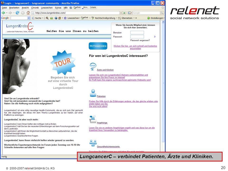 20 2000-2007 relenet GmbH & Co. KG LungcancerC – verbindet Patienten, Ärzte und Kliniken.