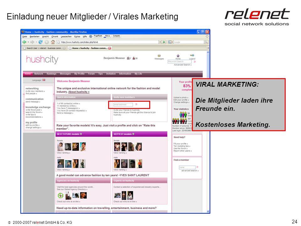 24 2000-2007 relenet GmbH & Co. KG Einladung neuer Mitglieder / Virales Marketing VIRAL MARKETING: Die Mitglieder laden ihre Freunde ein. Kostenloses