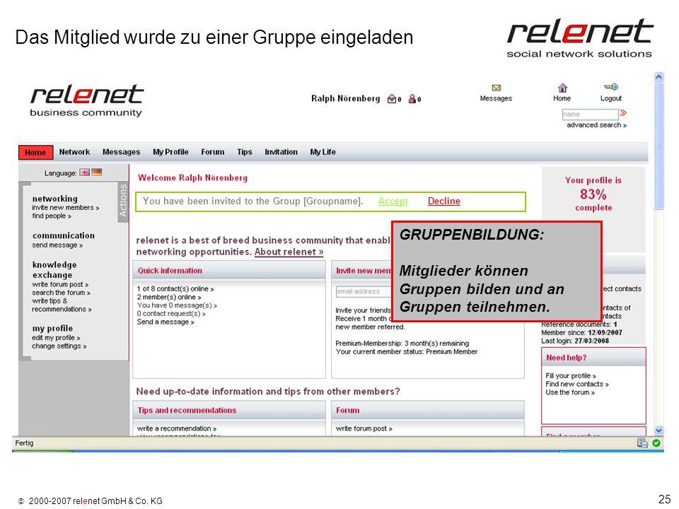 25 2000-2007 relenet GmbH & Co. KG Das Mitglied wurde zu einer Gruppe eingeladen You have been invited to the Group [Groupname]. Accept Decline GRUPPE