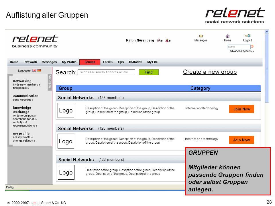 28 2000-2007 relenet GmbH & Co. KG Auflistung aller Gruppen Social Networks Logo Join Now (128 members) Desription of the group, Desription of the gro