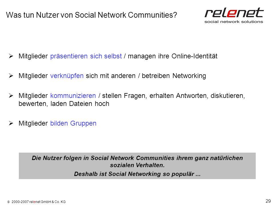 29 2000-2007 relenet GmbH & Co. KG Was tun Nutzer von Social Network Communities? Mitglieder präsentieren sich selbst / managen ihre Online-Identität