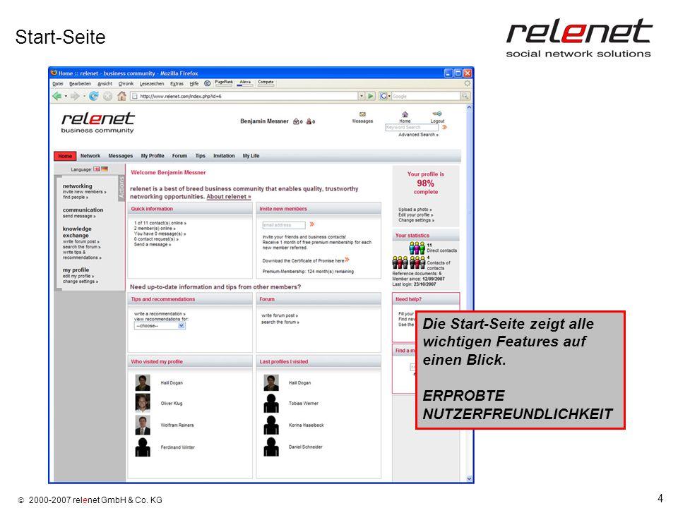 4 2000-2007 relenet GmbH & Co. KG Start-Seite Die Start-Seite zeigt alle wichtigen Features auf einen Blick. ERPROBTE NUTZERFREUNDLICHKEIT