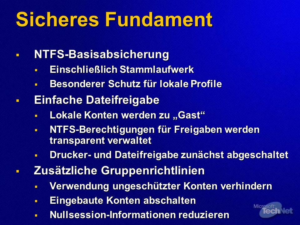 Sicheres Fundament NTFS-Basisabsicherung NTFS-Basisabsicherung Einschließlich Stammlaufwerk Einschließlich Stammlaufwerk Besonderer Schutz für lokale