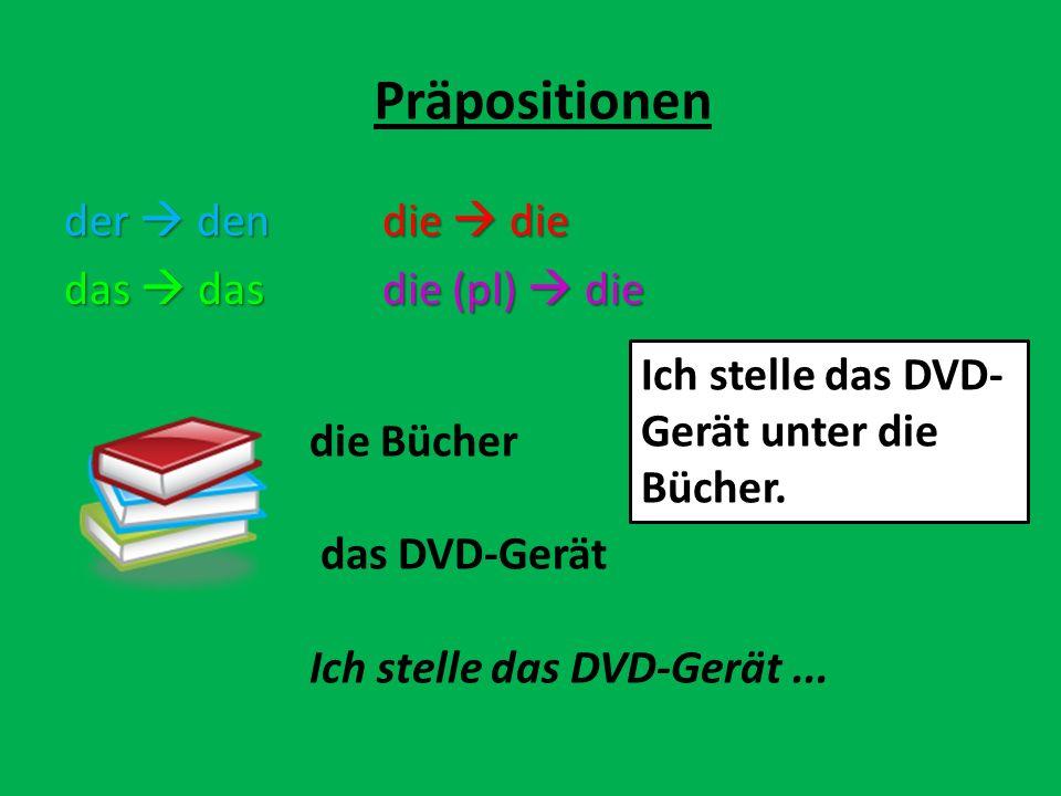 Präpositionen die Bücher das DVD-Gerät Ich stelle das DVD-Gerät... Ich stelle das DVD- Gerät unter die Bücher. der dendie die das dasdie (pl) die