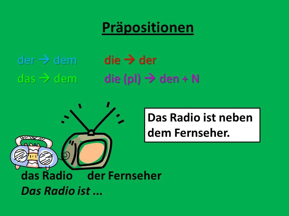 der demdie der das demdie (pl) den + N Präpositionen das Radio der Fernseher Das Radio ist... Das Radio ist neben dem Fernseher.