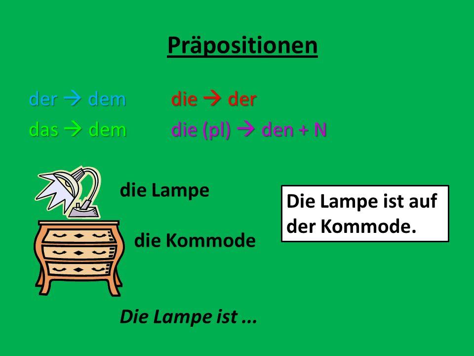der demdie der das demdie (pl) den + N Präpositionen die Lampe die Kommode Die Lampe ist... Die Lampe ist auf der Kommode.