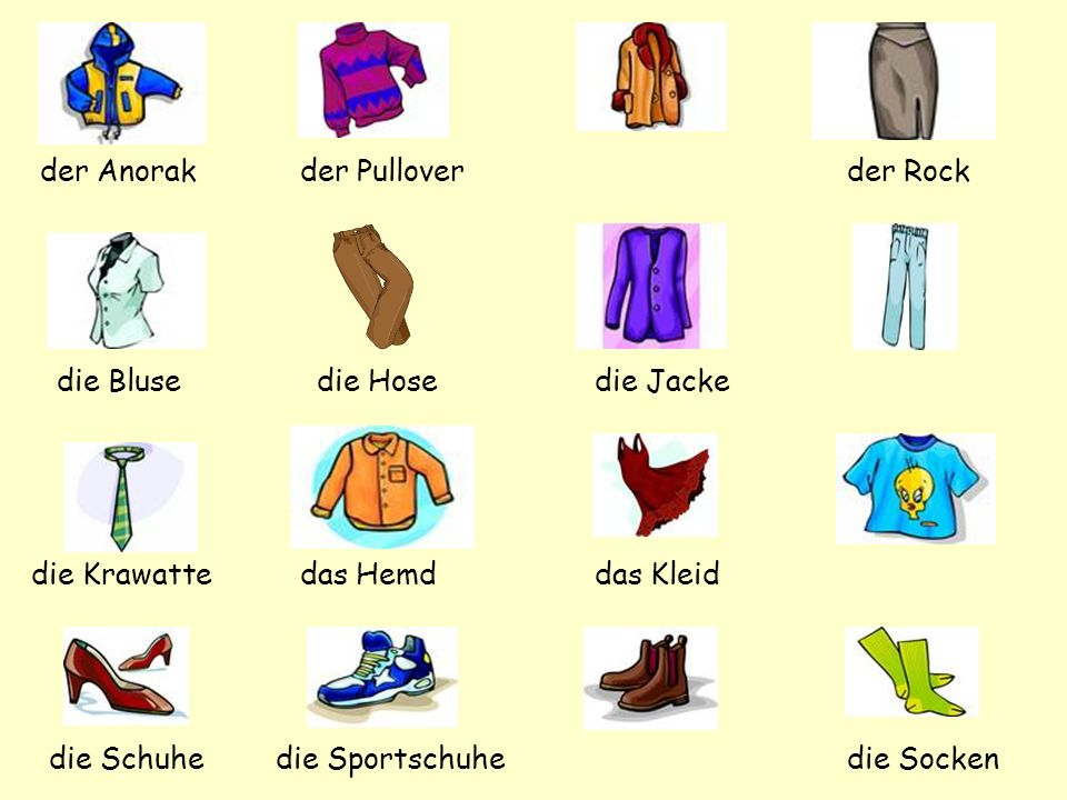 Die Kleidung Now we are going to look at... how to use colours as adjectives with clothing.