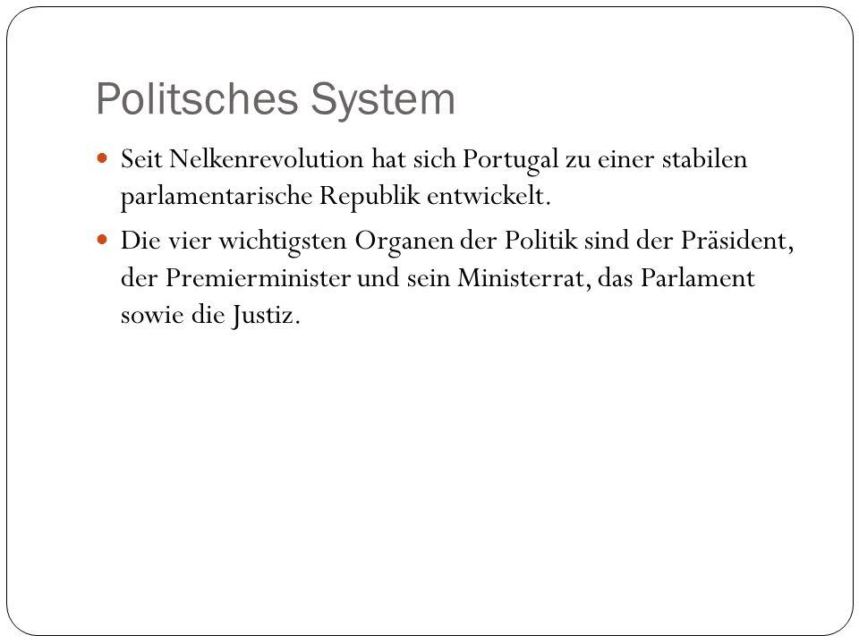 Politsches System Seit Nelkenrevolution hat sich Portugal zu einer stabilen parlamentarische Republik entwickelt. Die vier wichtigsten Organen der Pol